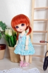 Lati Yellow Summery Praire Blue Dress